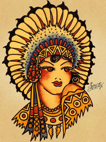 tattoo indienne pin-up sailor jerry